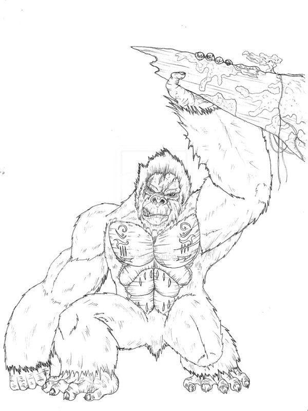 Coloriage et dessins gratuits King Kong réaliste à imprimer