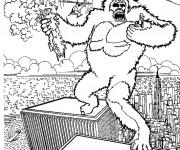 Coloriage et dessins gratuit Scène de King Kong à imprimer