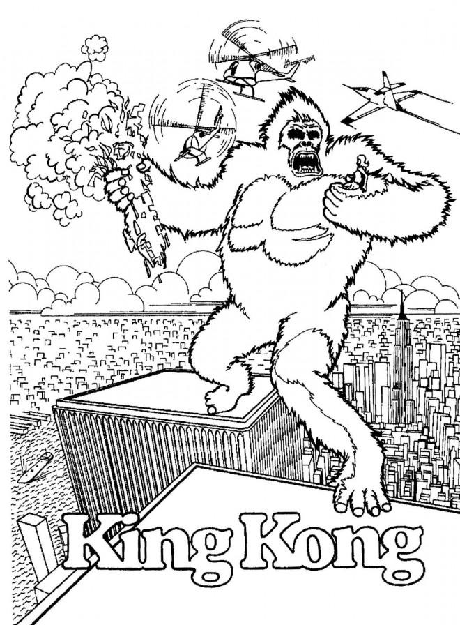 Coloriage et dessins gratuits Scène de King Kong à imprimer