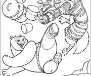 Coloriage et dessins gratuit Kung Fu Panda combat de Po à imprimer