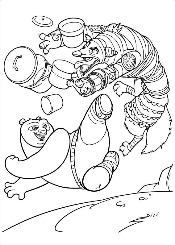 Coloriage et dessins gratuits Kung Fu Panda combat de Po à imprimer