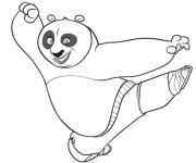 Coloriage Kung Fu Panda coup de pied de Po