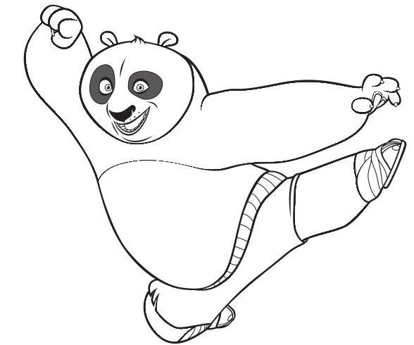 Coloriage Kung Fu Panda Coup De Pied De Po Dessin Gratuit A Imprimer