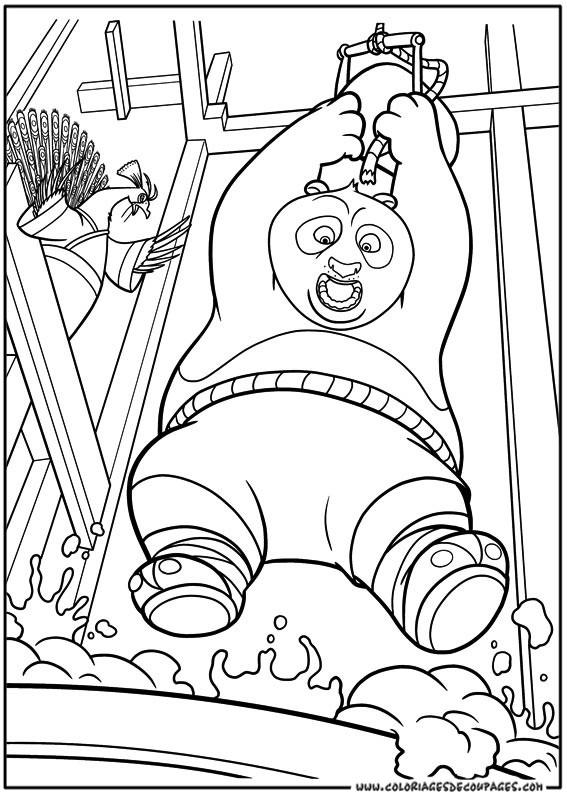 Coloriage et dessins gratuits Kung Fu Panda et Po dans l'eau chaude à imprimer