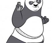 Coloriage Kung Fu Panda et Po prêt au combat