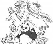 Coloriage Kung Fu Panda Personnages