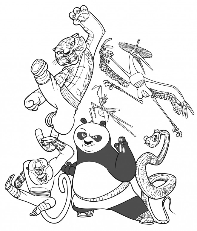 Coloriage et dessins gratuits Kung Fu Panda Personnages à imprimer