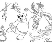 Coloriage Kung Fu Panda  Po et ses amis