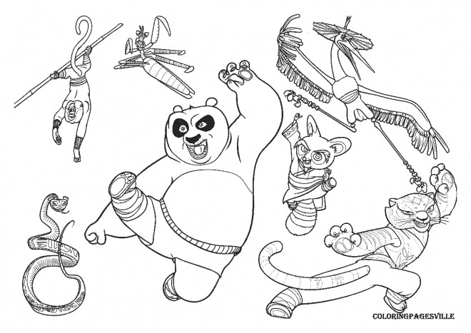 Coloriage kung fu panda po et ses amis dessin gratuit - Dessin kung fu panda ...