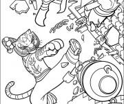 Coloriage et dessins gratuit Kung Fu Panda Tigresse en action à imprimer