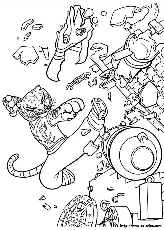 Coloriage et dessins gratuits Kung Fu Panda Tigresse en action à imprimer