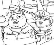 Coloriage Po prend un bain dans Kung Fu Panda
