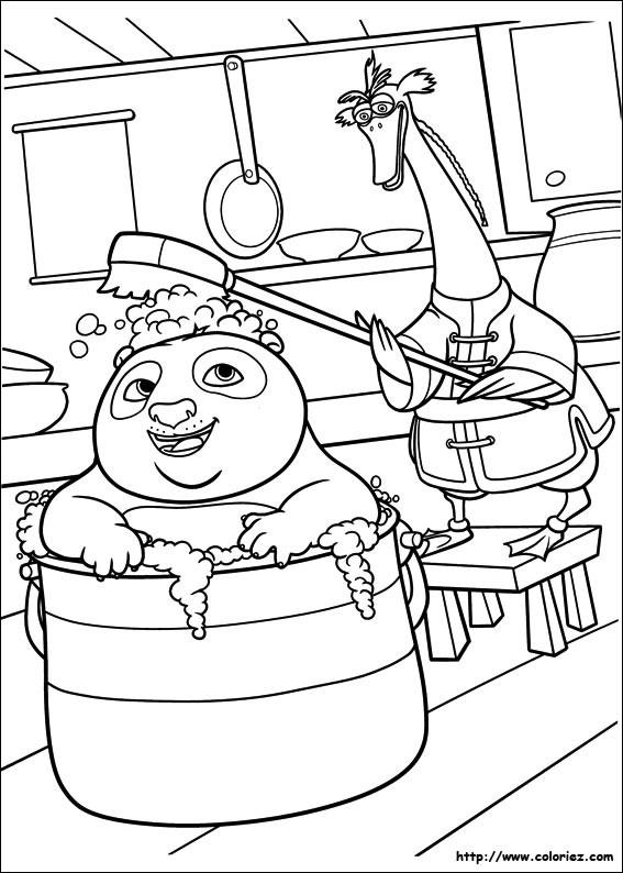 Coloriage et dessins gratuits Po prend un bain dans Kung Fu Panda à imprimer