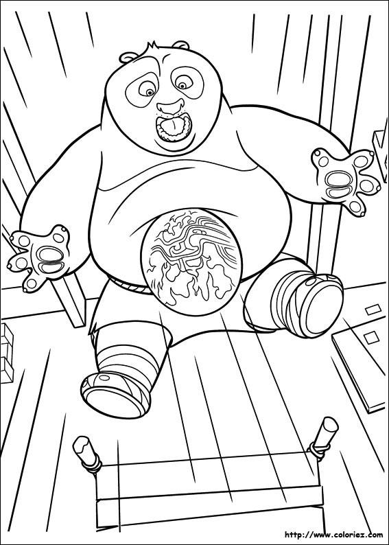 Coloriage et dessins gratuits Po surpris Kung Fu Panda à imprimer