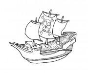 Coloriage et dessins gratuit Bateau pirate facile à imprimer