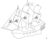 Coloriage Bateau Pirate simple