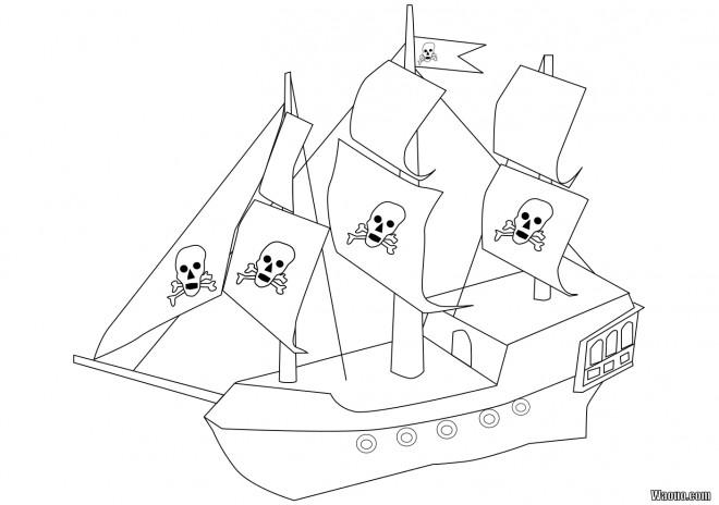 Coloriage Bateau Pirate Simple Dessin Gratuit à Imprimer