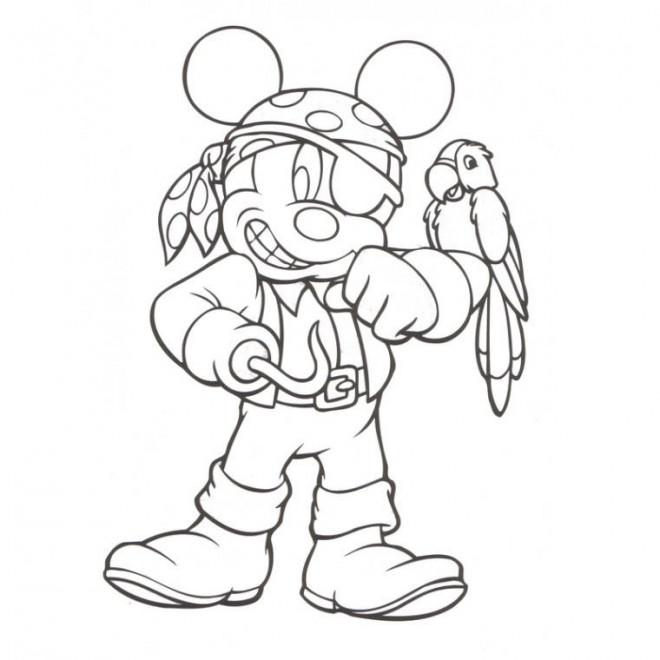 Coloriage et dessins gratuits Mickey en tant que pirate à imprimer
