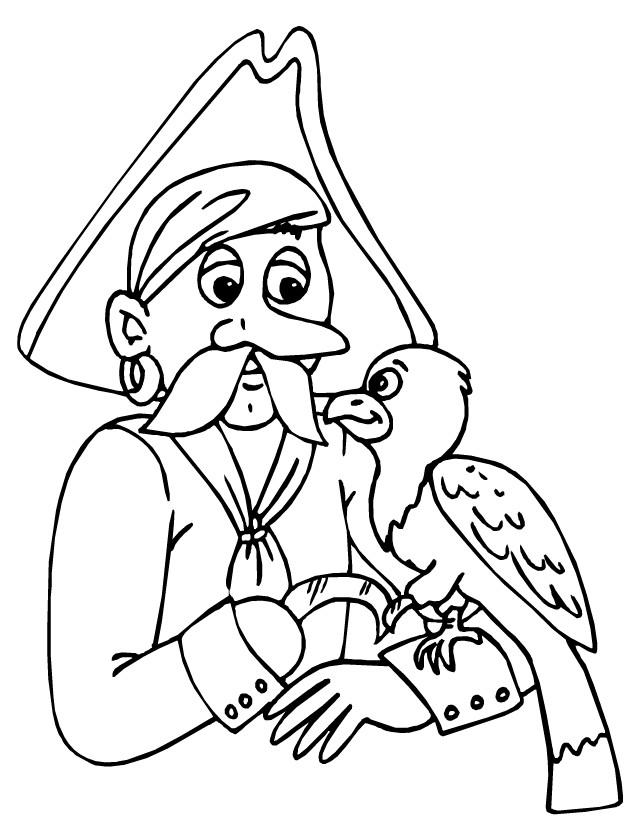 Coloriage et dessins gratuits Pirate en noir et blanc à imprimer