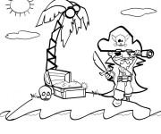 Coloriage et dessins gratuit Pirate et l'île de trésor à imprimer