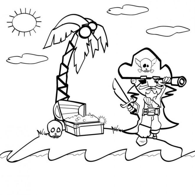 Coloriage et dessins gratuits Pirate et l'île de trésor à imprimer