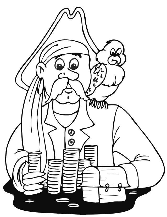 Coloriage et dessins gratuits Pirate et son fidèle perroquet à imprimer