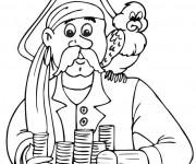 Coloriage Pirate et son Perroquet