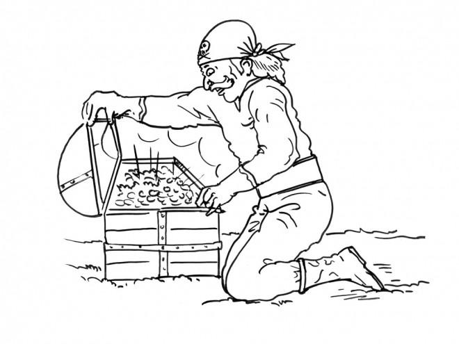 Coloriage et dessins gratuits Pirate et son Trésor à imprimer