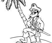 Coloriage et dessins gratuit Pirate sérieux et son trésor à imprimer
