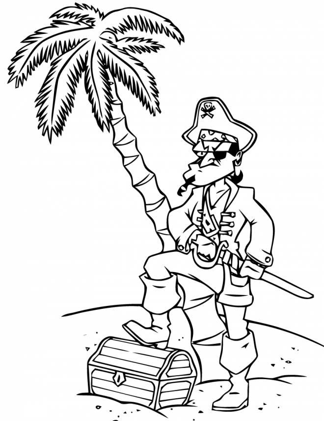 Coloriage et dessins gratuits Pirate sérieux et son trésor à imprimer