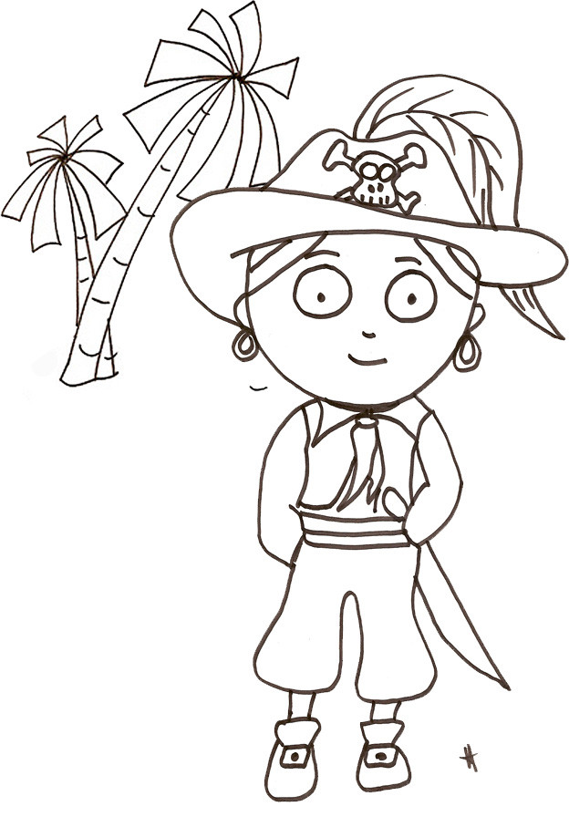 Coloriage pirate simple dessin gratuit imprimer - Coloriage fille pirate ...