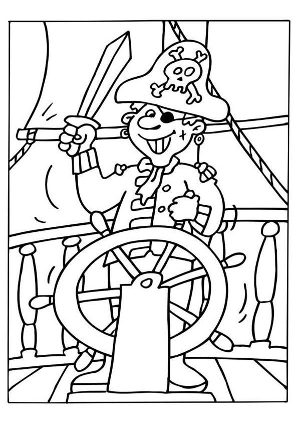 Coloriage et dessins gratuits Pirate souriant à imprimer