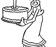Coloriage La Femme de Popeye et Le Gâteau d'anniversaire
