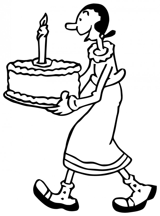 Coloriage et dessins gratuits La Femme de Popeye et Le Gâteau d'anniversaire à imprimer