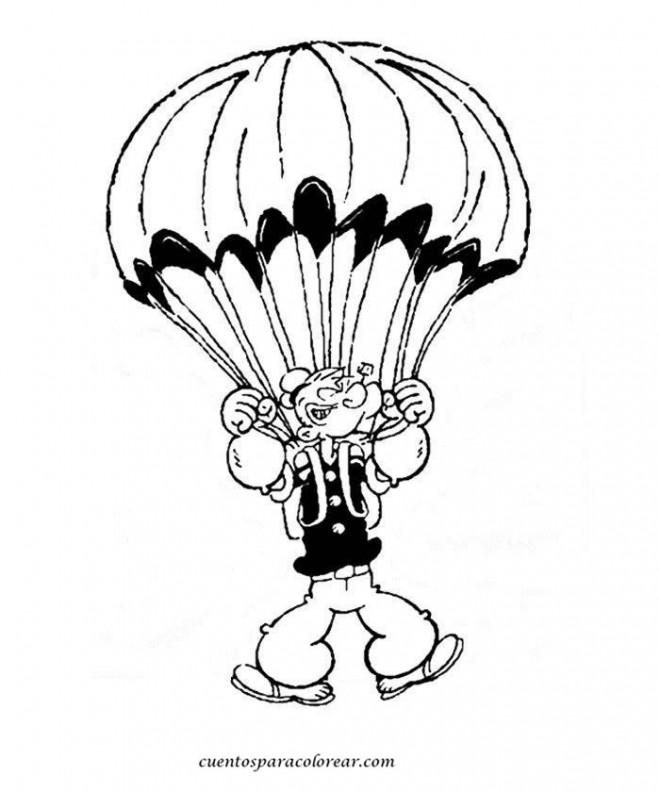 Coloriage et dessins gratuits Popeye dans Le Ciel à imprimer