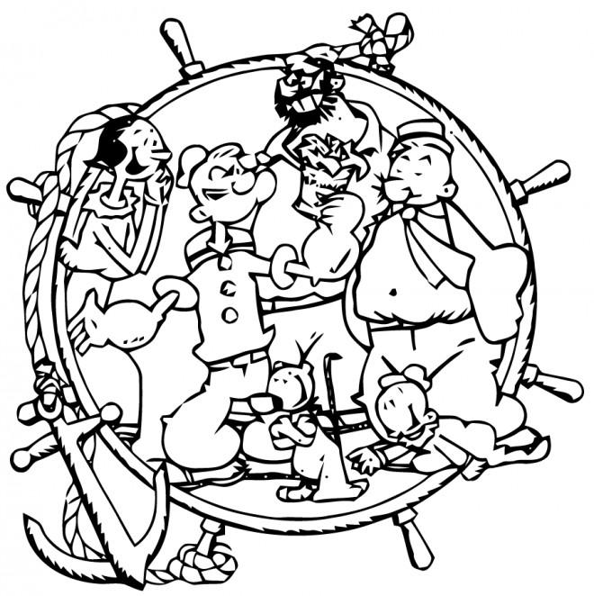 Coloriage et dessins gratuits Popeye dessin animé à imprimer