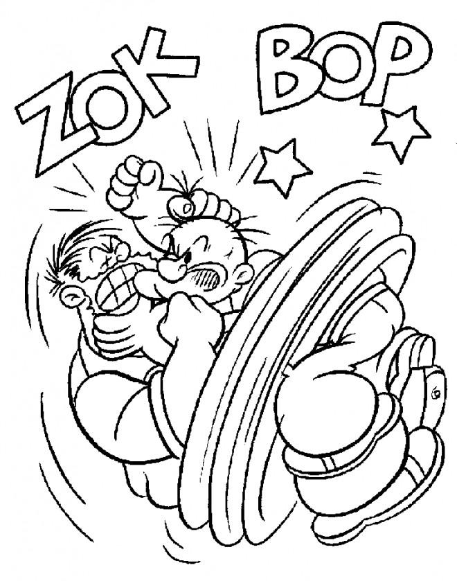 Coloriage et dessins gratuits Popeye en combat à imprimer