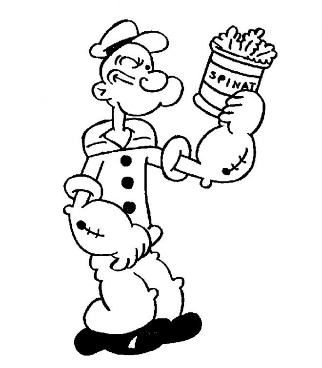 Coloriage et dessins gratuits Popeye épinards à imprimer
