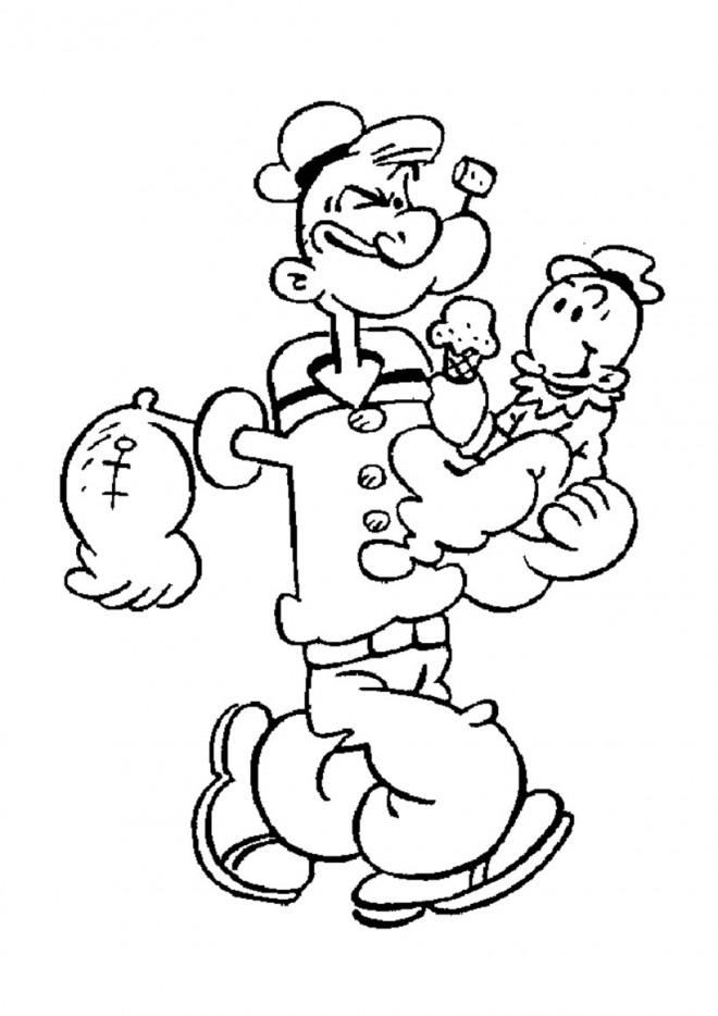 Coloriage et dessins gratuits Popeye Le Père à imprimer