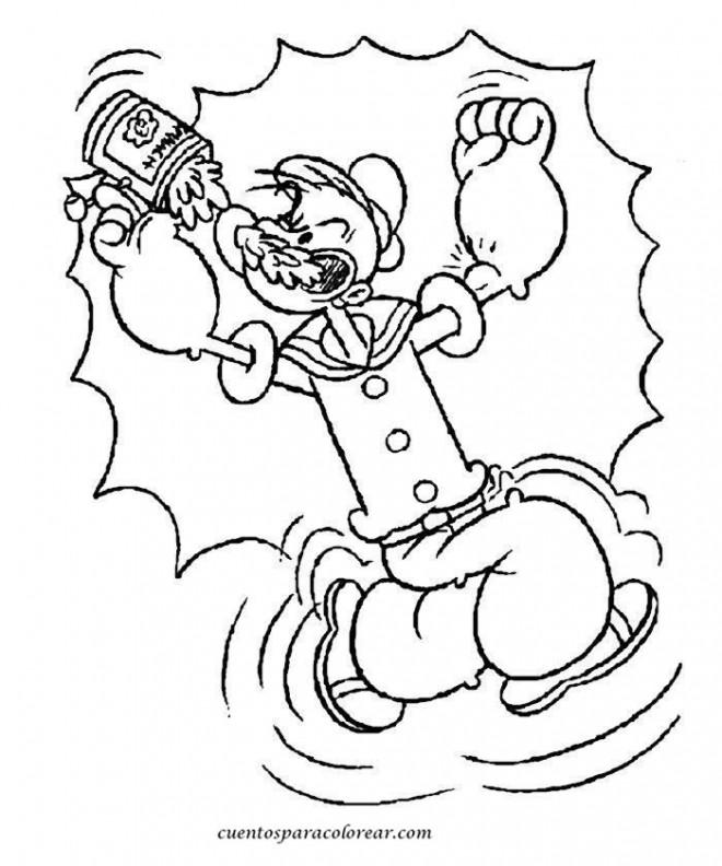Coloriage et dessins gratuits Popeye musclé à imprimer