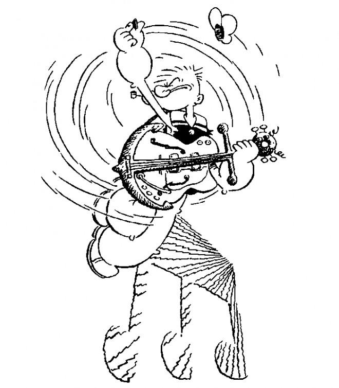 Coloriage et dessins gratuits Popeye musicien à imprimer