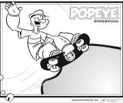 Coloriage et dessins gratuit Popeye Skateur à imprimer