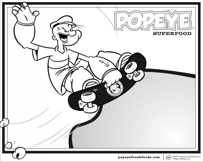 Coloriage et dessins gratuits Popeye Skateur à imprimer
