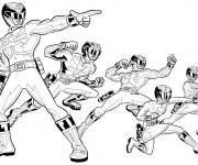 Coloriage et dessins gratuit Power Rangers en noir et blanc à imprimer