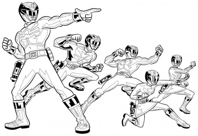Coloriage et dessins gratuits Power Rangers en noir et blanc à imprimer