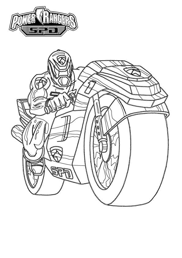 Coloriage et dessins gratuits Power Rangers Moto à imprimer