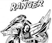 Coloriage et dessins gratuit Power Rangers rouge Moto à imprimer