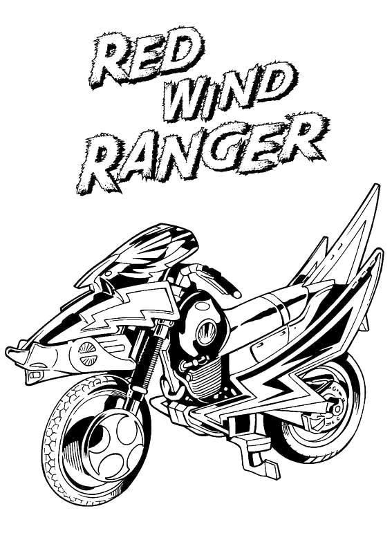 Coloriage et dessins gratuits Power Rangers rouge Moto à imprimer
