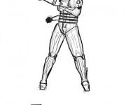 Coloriage et dessins gratuit Robocop en noir et blanc à imprimer