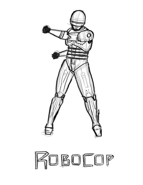 Coloriage et dessins gratuits Robocop en noir et blanc à imprimer